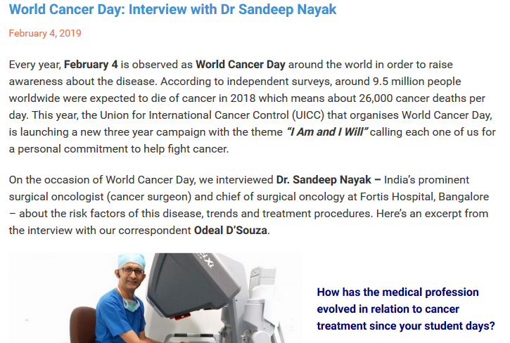 Dr Sandeep Nayak : World Cancer Day