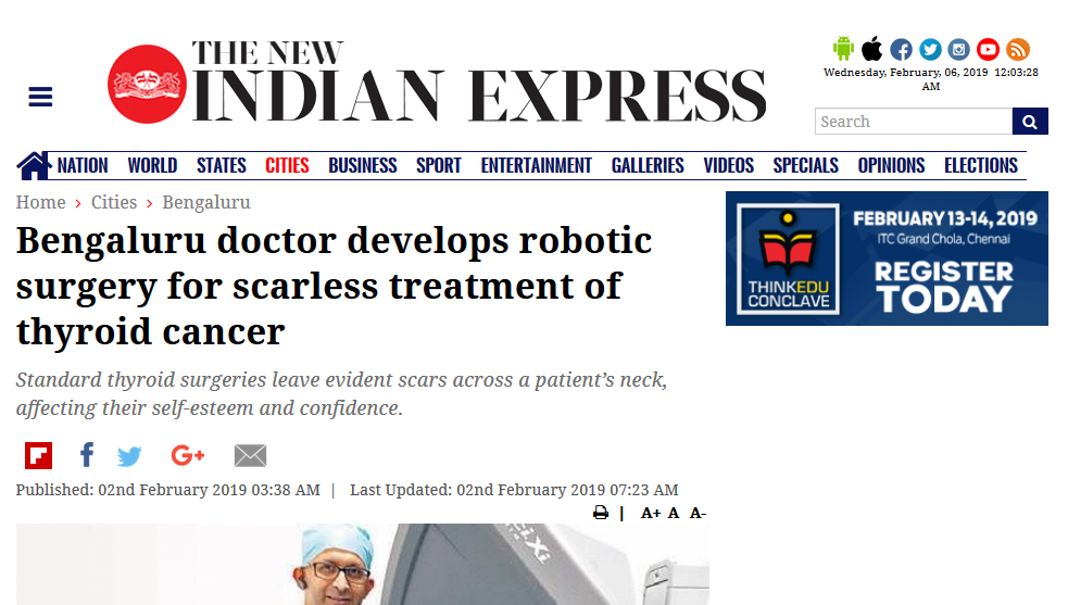Dr Sandeep Nayak : Bengaluru doctor develops robotic surgery for scarless treatment of thyroid cancer