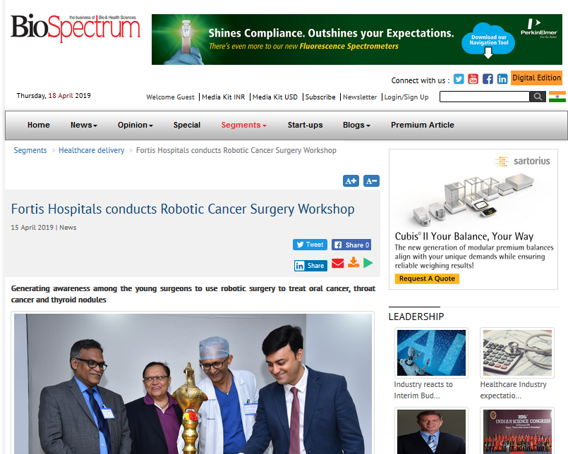 Fortis Hospitals conducts Robotic Cancer Surgery Workshop